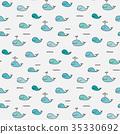 Cute Whale Vector Pattern. 35330692