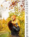 Loving Mother and Son  in Fall Park Outdoors 35331807