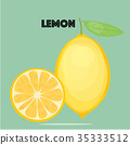 Fresh lemons Vector. Fruits and vegetables. 35333512