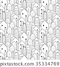 City seamless pattern in black and white. 35334769