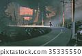 man riding a horse in futuristic city 35335550