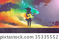 girl playing the guitar with colorful smoke 35335552