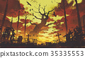 big bare trees with flying birds in sunset sky 35335553