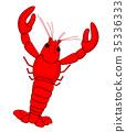 Red Shrimp vector cartoon design. 35336333
