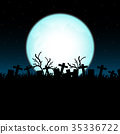 Cemetery on Halloween night. 35336722
