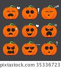 Pumpkin face emotion set  vector design for Hallow 35336723