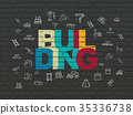 Constructing concept: Building on wall background 35336738