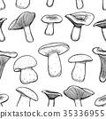 Seamless pattern with mushrooms. 35336955