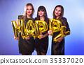 Three beautiful elegant women celebrate birthday  35337020