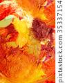 Detail of artist palette, color tones mixed 35337154