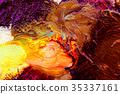 Detail of artist palette, color tones mixed 35337161