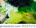 Detail of artist palette, color tones mixed 35337172