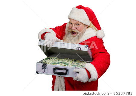 Santa Claus opening suitcase with money. 35337793
