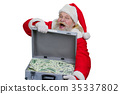 Santa Claus with a case of money. 35337802