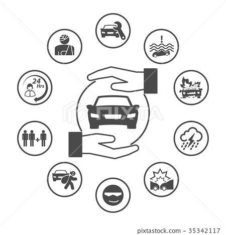 Car Insurance Rounded Insurance Icons Set