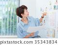 นักธุรกิจหญิงประชุมกราฟิก 35343834