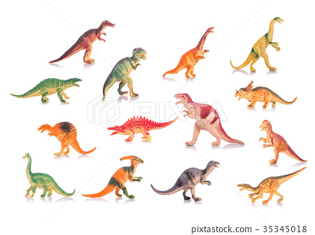 Collection of silicone or plastic toy dinosaurs. Studio shot and on white 35345018