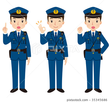 Police officer face pose 35345686