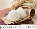 Rice ball (silver chopsticks) and rice field 35346157