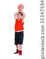 Asian basketball player prepare to throw the ball. 35347594