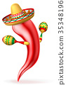 Cartoon Chilli Pepper with Maracas and Sombrero 35348196
