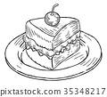 Cake Slice Vintage Retro Woodcut Style 35348217
