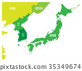 Political map of Korean and Japanese region, South 35349674