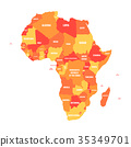 Orange political map of Africa. Vector 35349701