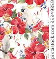 Watercolor tropical floral pattern 35349859
