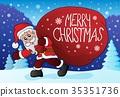 Santa Claus with big gift bag theme 4 35351736