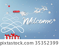 Paper art of welcome to christmas day background 35352399