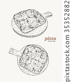 Pizza on the wooden board hand draw sketch vector. 35352882