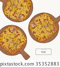 Pizza on the wooden board hand draw sketch vector. 35352883