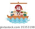 the seven deities of good fortune, treasure ship, vector 35353198
