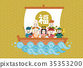 the seven deities of good fortune, treasure ship, divinity 35353200