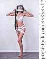 Sexy woman in helmet pilot 35353512