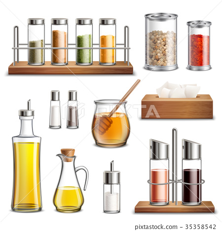 Kitchen Herbs Spices Realistic Set  35358542