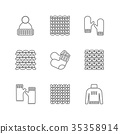 Knittind clothes, knitted samples thin line icons 35358914
