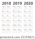 Yearly Calendar Template for 2018 to 2020 35359621