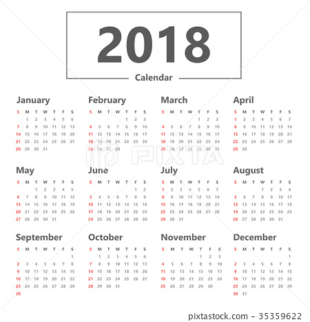 Yearly Wall Calendar Planner Template for 2018 35359622