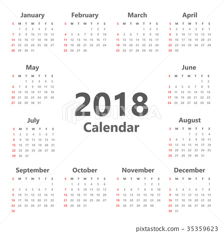 Yearly Wall Calendar Planner Template for 2018 35359623