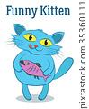 Cartoon Cat with Fish 35360111