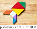 Color tangram puzzle in rocket or missile shape 35361034