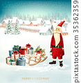 Christmas background with presents on a sleigh 35362359