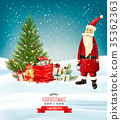 Holiday Christmas background with a gift boxes  35362363