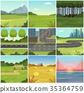 Different natural summer landscapes set, scenes of 35364759