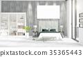 Fashionable modern loft interior with empty frame 35365443