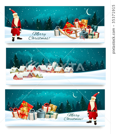 Three Holiday Christmas banners with a gift boxes 35371915