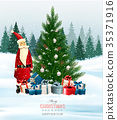 Holiday background with a Christmas tree  35371916