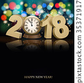 Happy New Year background with 2018 35371917